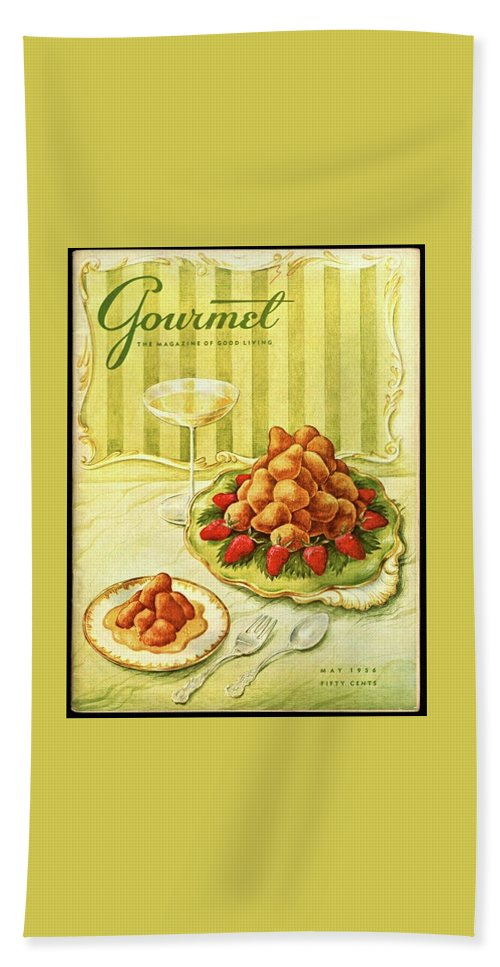 Illustration Beach Sheet featuring the photograph Gourmet Cover Featuring A Plate Of Beignets by Hilary Knight