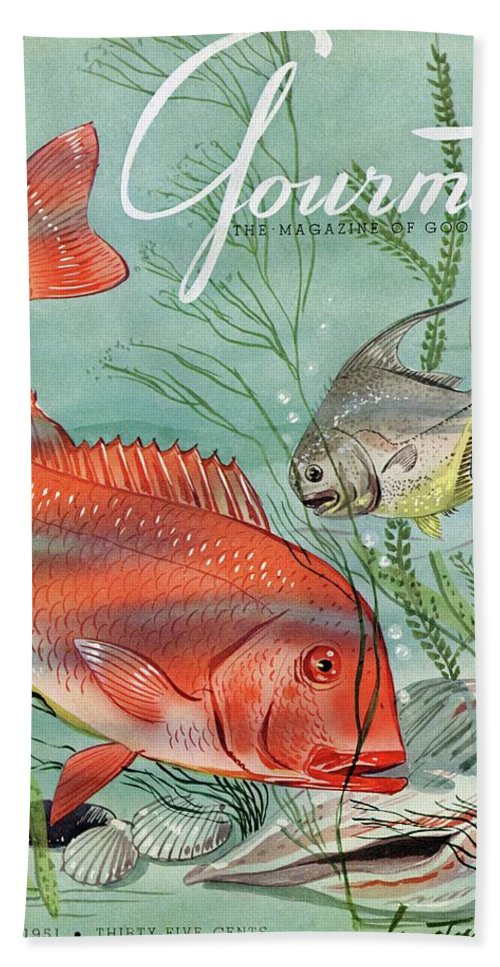 Illustration Beach Towel featuring the photograph Gourmet Cover Featuring A Snapper And Pompano by Henry Stahlhut