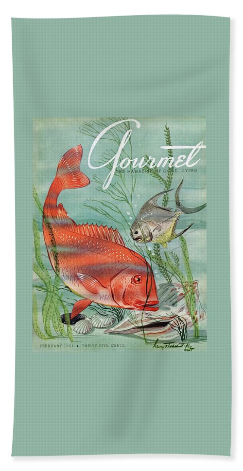Illustration Beach Towel featuring the painting Gourmet Cover Featuring A Snapper And Pompano by Henry Stahlhut