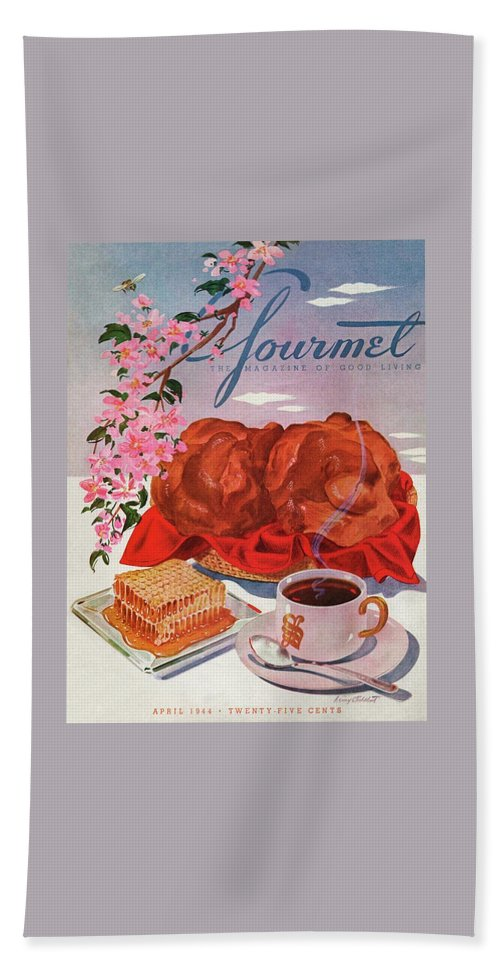 Food Beach Towel featuring the photograph Gourmet Cover Illustration Of A Basket Of Popovers by Henry Stahlhut