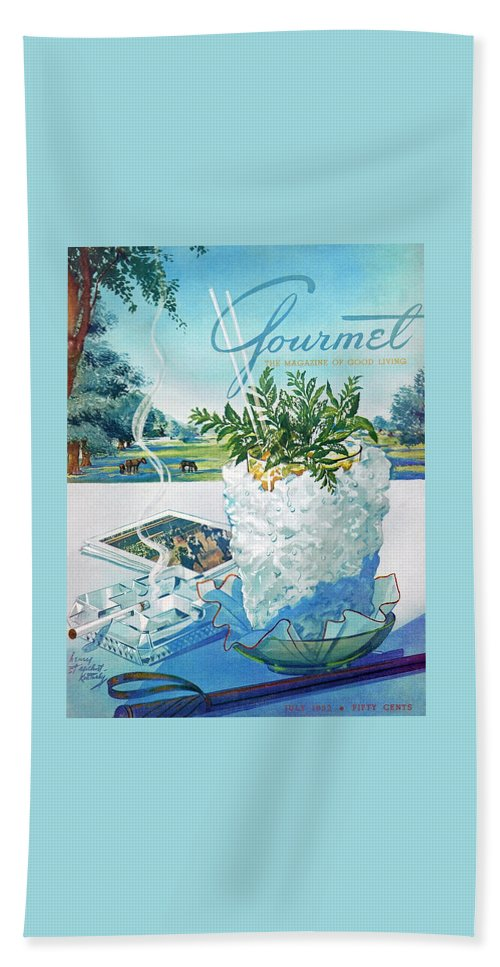 Food Beach Towel featuring the photograph Gourmet Cover Illustration Of Mint Julep Packed by Henry Stahlhut