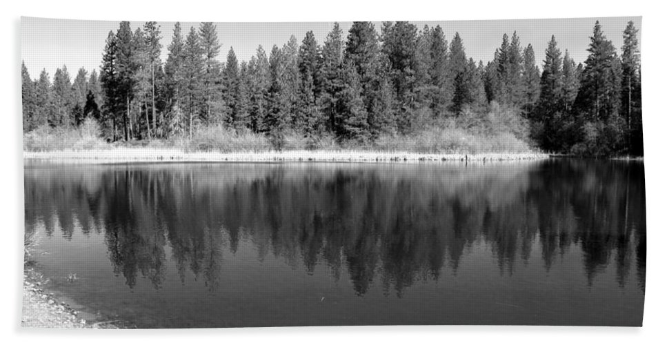 Reflections Beach Towel featuring the photograph Grace Lake Reflections In Black And White by Joyce Dickens