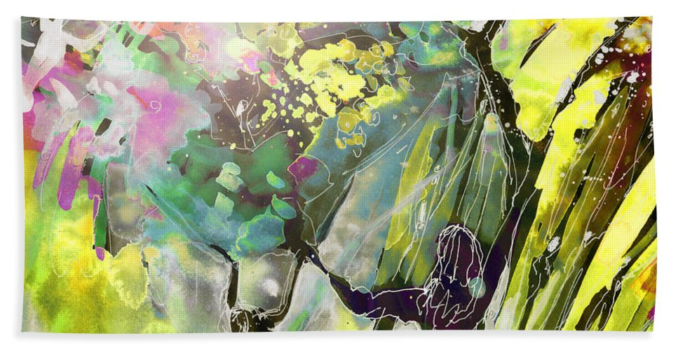 Fantasy Beach Sheet featuring the painting Grace Under Pressure by Miki De Goodaboom