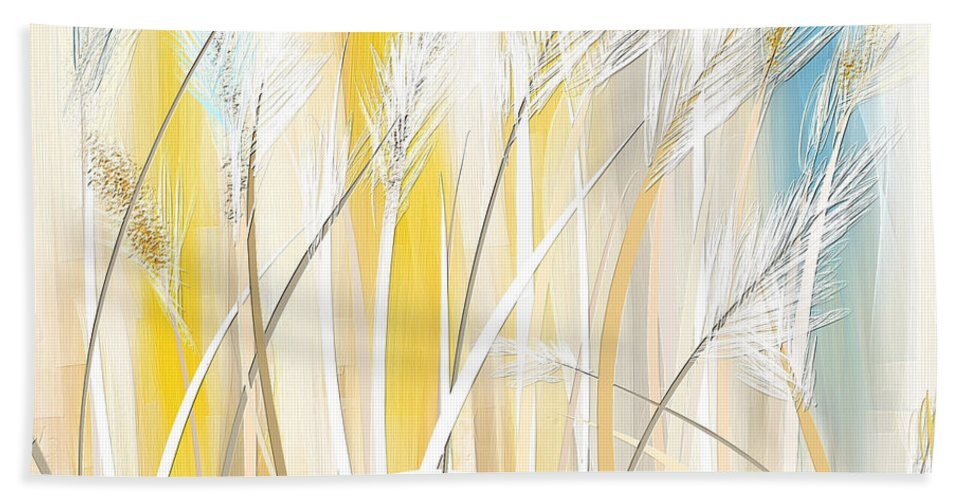 Yellow Beach Towel featuring the painting Graceful Grasses by Lourry Legarde