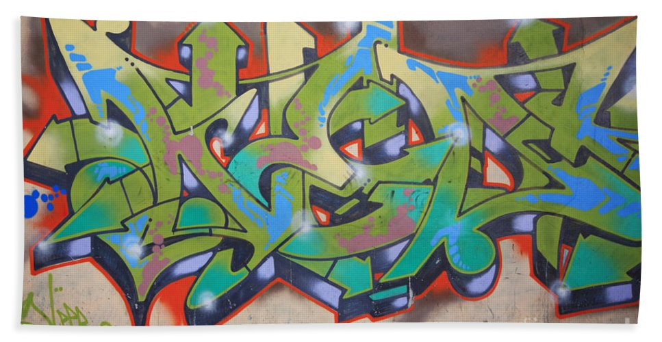 Art Beach Towel featuring the photograph Graffiti On The Wall In Havana Cuba by Deborah Benbrook