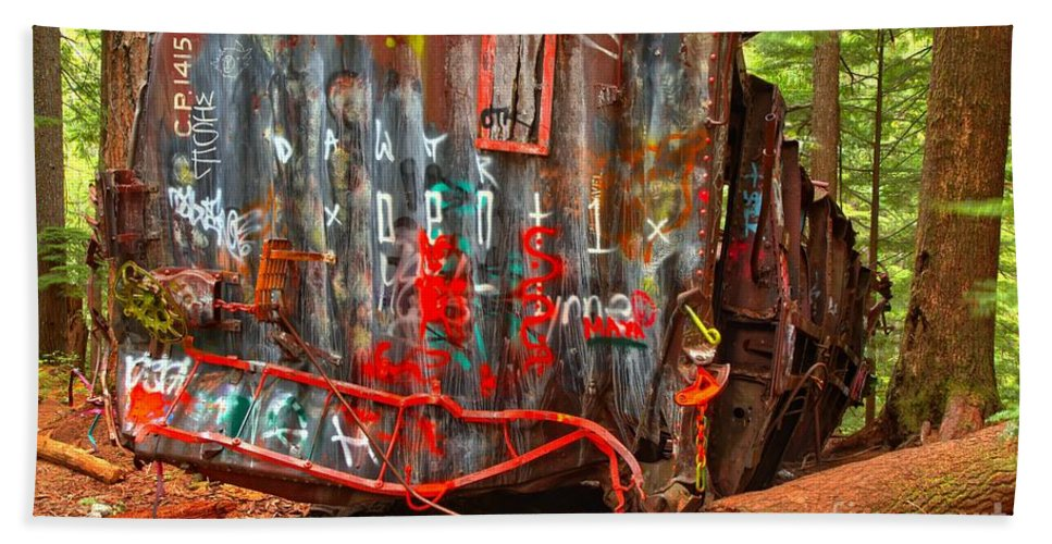 Train Wreck Beach Towel featuring the photograph Graffiti On The Wreckage by Adam Jewell