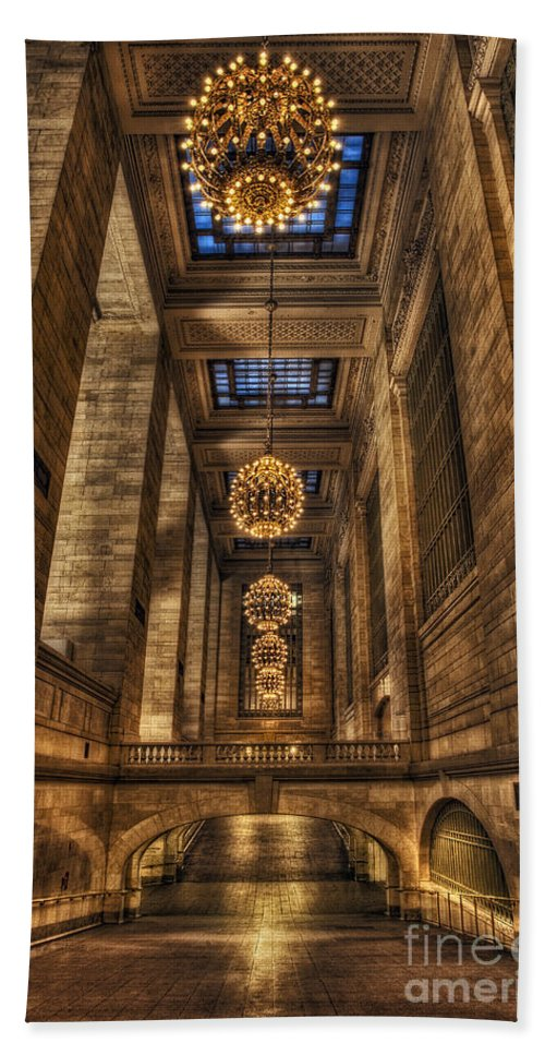 New York City Beach Towel featuring the photograph Grand Central Terminal Station Chandeliers by Susan Candelario
