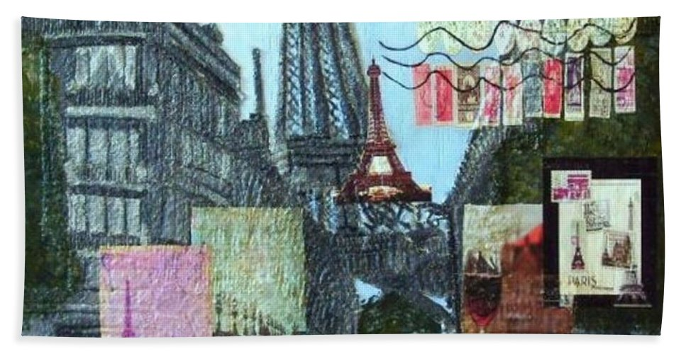 Mixed Media Beach Towel featuring the painting Grand Ole Paris-postcard From Paris by Leslye Miller