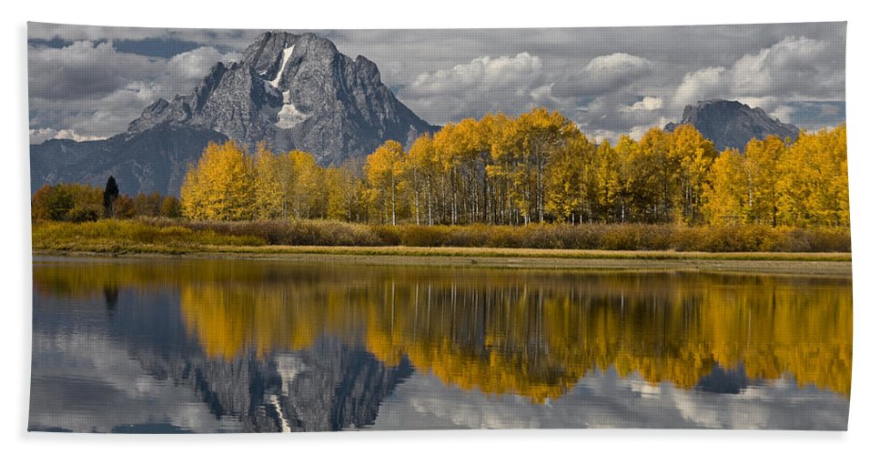 Grand Teton Gold Beach Towel featuring the photograph Grand Teton Gold by Wes and Dotty Weber