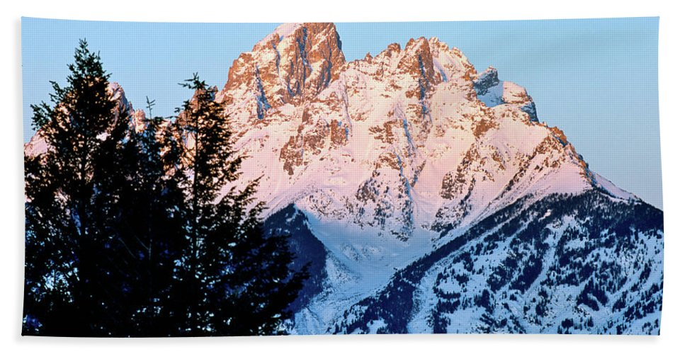 Mountains Beach Towel featuring the photograph Grand Teton National Park Moonset by Ed Riche