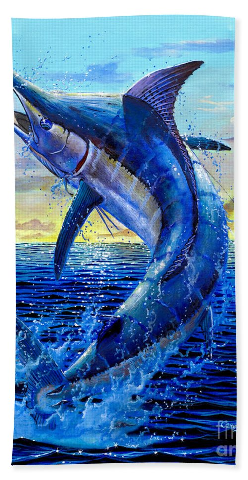 Marlin Beach Towel featuring the painting Grander Off007 by Carey Chen