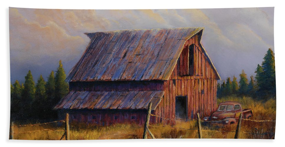 Barn Beach Towel featuring the painting Grandpas Truck by Jerry McElroy