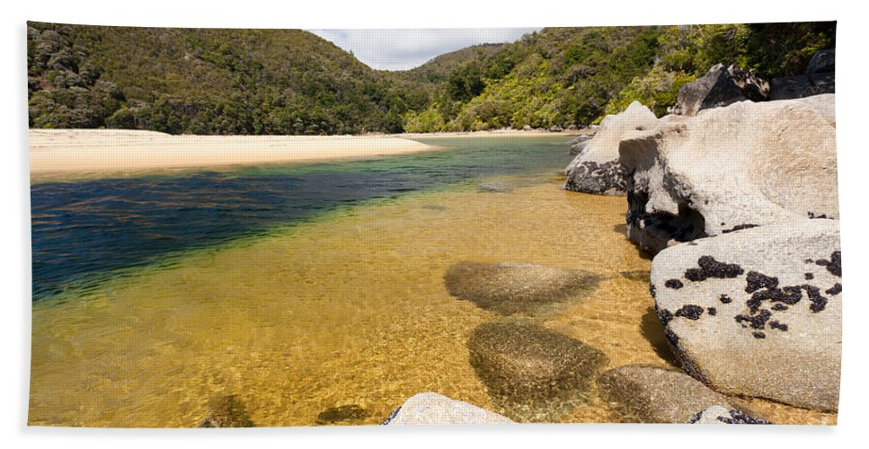 Cook Strait Beach Towel featuring the photograph Granite Boulders In Abel Tasman Np In New Zealand by Stephan Pietzko