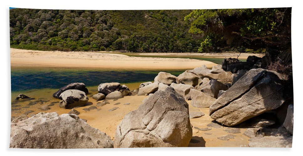 Cook Strait Beach Towel featuring the photograph Granite Boulders In Abel Tasman Np New Zealand by Stephan Pietzko