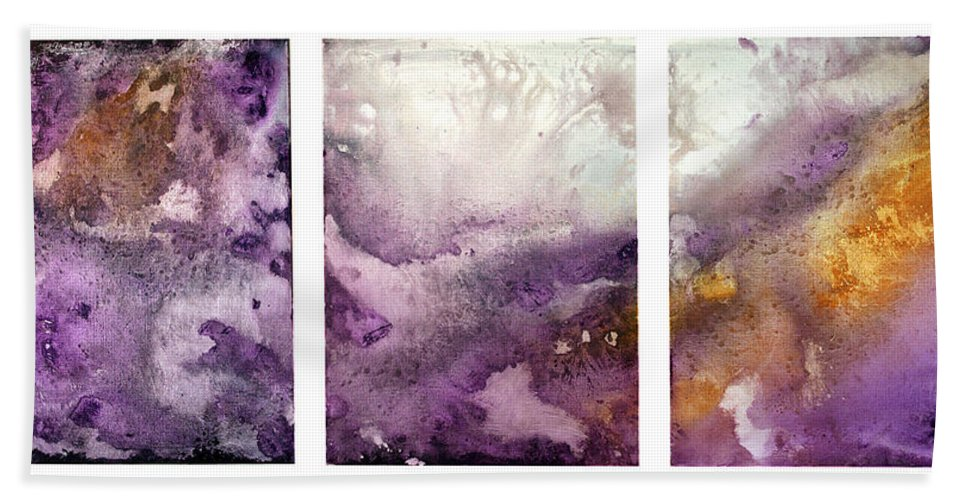 Abstract Beach Towel featuring the painting Grape Impressions Original Madart Painting by Megan Duncanson