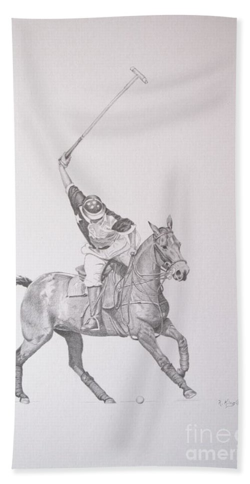 Roena King Beach Towel featuring the drawing Graphite Drawing - Shooting For The Polo Goal by Roena King
