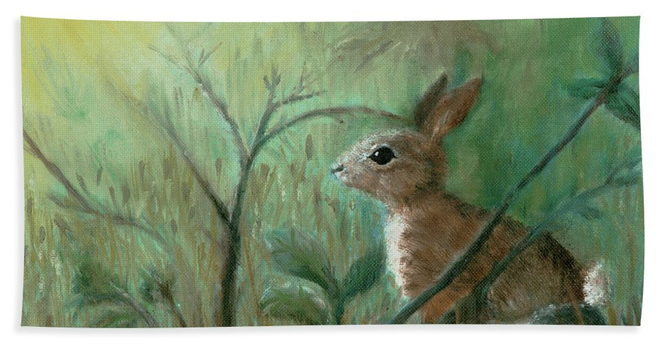 Rabbit Beach Towel featuring the painting Grass Rabbit by Terry Lewey