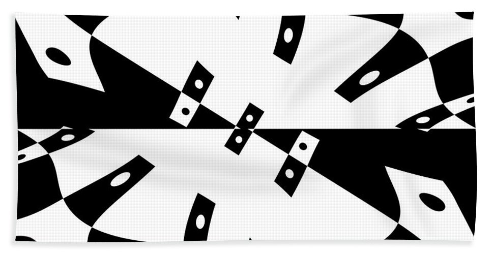 Black White Abstract Domino Gravity Space Expressionism Digital Art Zero Beach Towel featuring the digital art Gravity Zero by Steve K