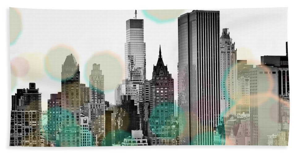 Gray Beach Towel featuring the digital art Gray City Beams by Sundance B