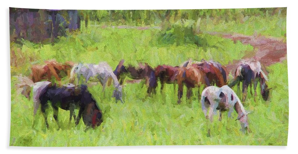 Horses Beach Towel featuring the photograph Grazing Trail Horses by Alice Gipson