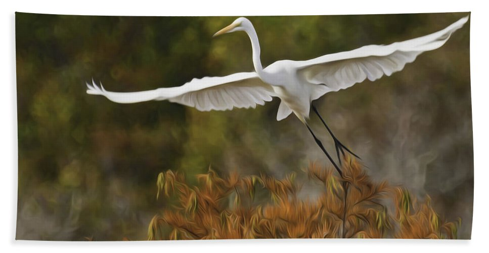 Pixel Bender Beach Towel featuring the photograph Great Egret Pixelated by James Ekstrom