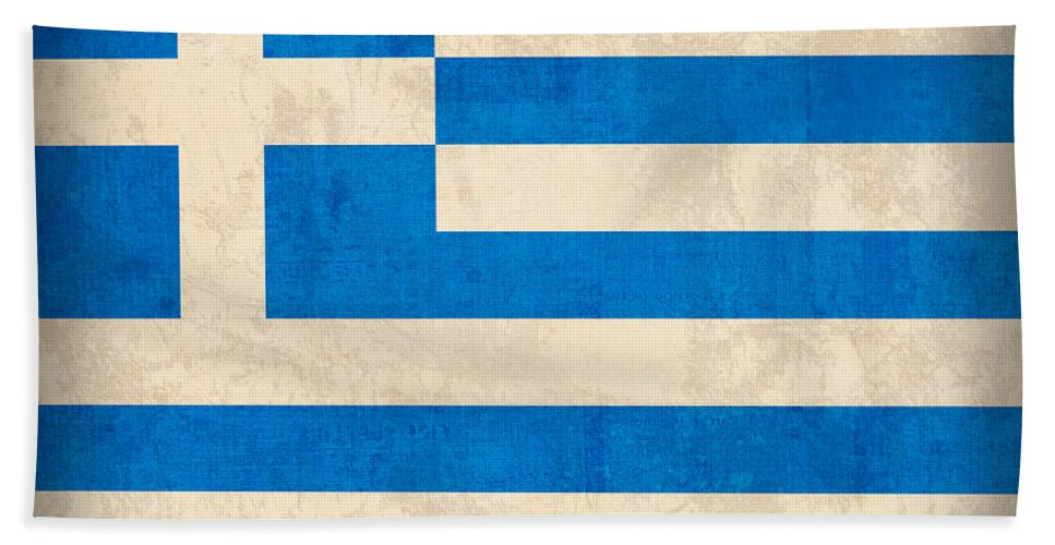 Greece Greek Athen Hellenic Ruins Acropolis Flag Vintage Distressed Finish Beach Towel featuring the mixed media Greece Flag Vintage Distressed Finish by Design Turnpike