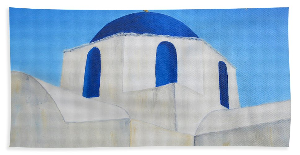 Greece Beach Towel featuring the painting Greek Island Church by Jerome Stumphauzer