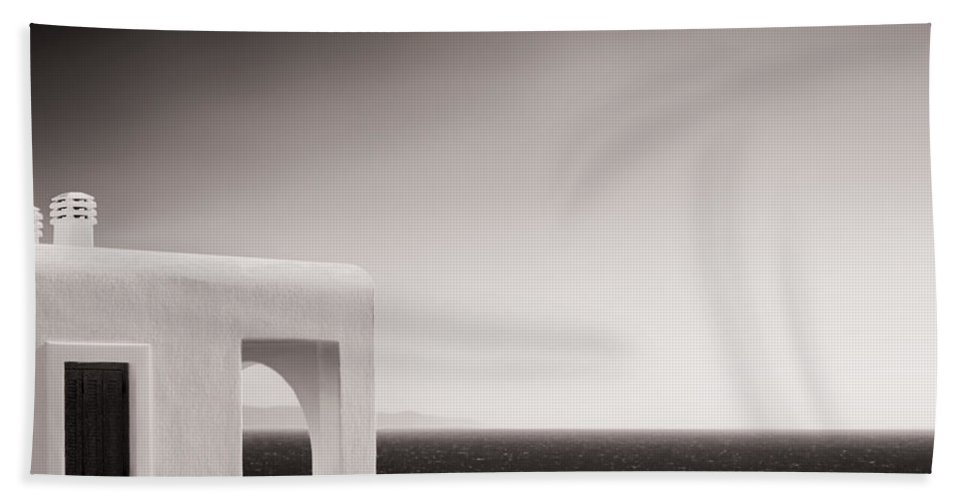Cyclades Beach Towel featuring the photograph Greek Mediterranean Sea - Horizon And Architecture by Alexander Voss