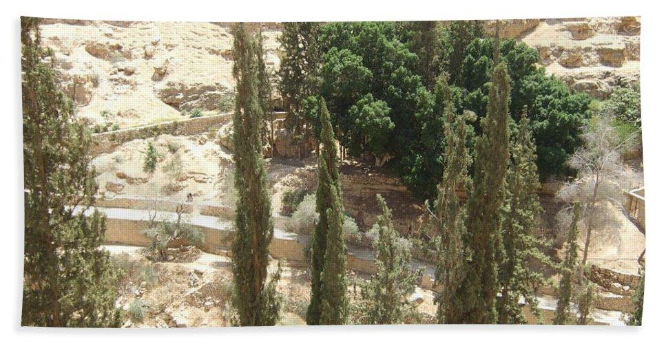 Jerusalem Beach Towel featuring the photograph Green Among Cliffs by Katerina Naumenko