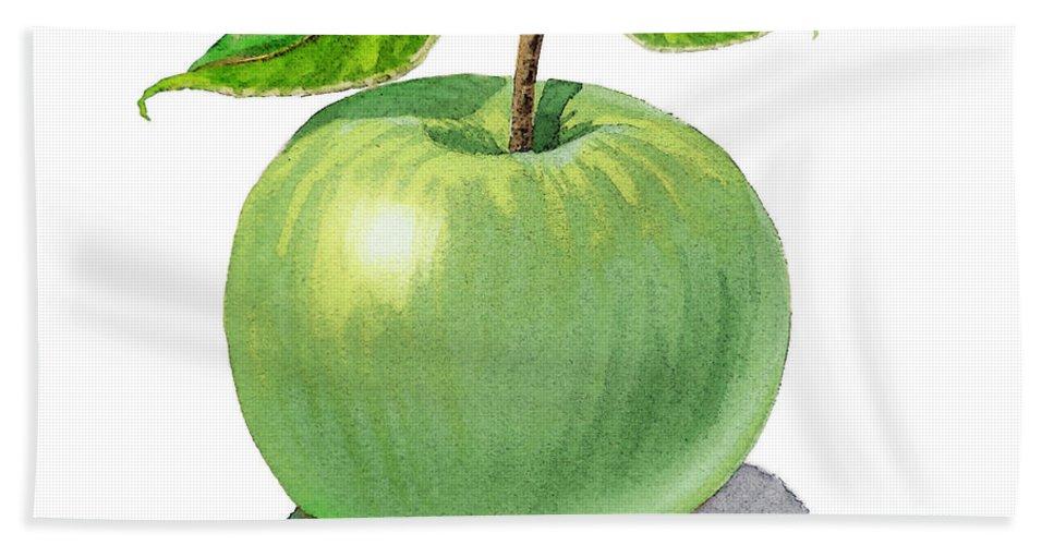 Apple Beach Towel featuring the painting Green Apple Still Life by Irina Sztukowski