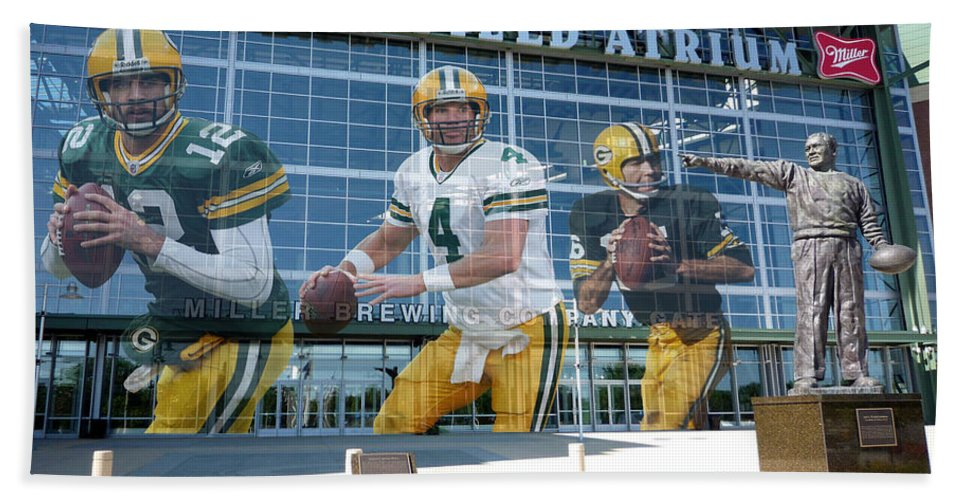 Bret Favre Beach Towel featuring the photograph Green Bay Packers Lambeau Field by Joe Hamilton