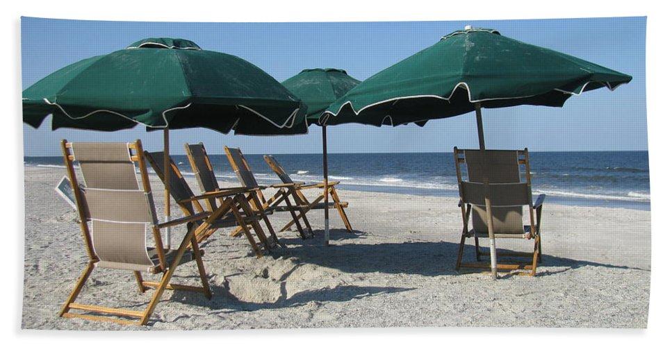 Landscape Beach Towel featuring the photograph Green Beach Umbrellas by Ellen Meakin