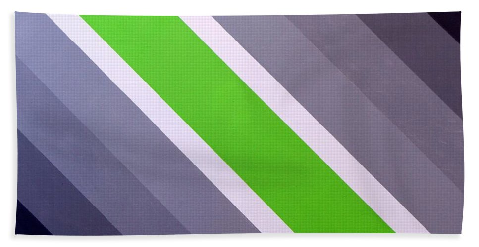 Bold Graphics Beach Towel featuring the painting Green Chevron by Thomas Gronowski