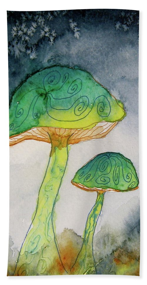 Watercolor Beach Towel featuring the painting Green Dreams by Beverley Harper Tinsley