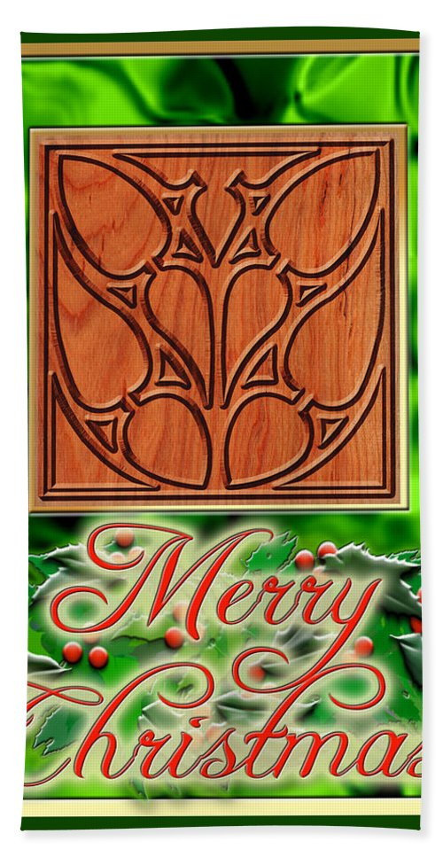 Christmas Beach Towel featuring the digital art Green Satin Merry Christmas by Melissa A Benson