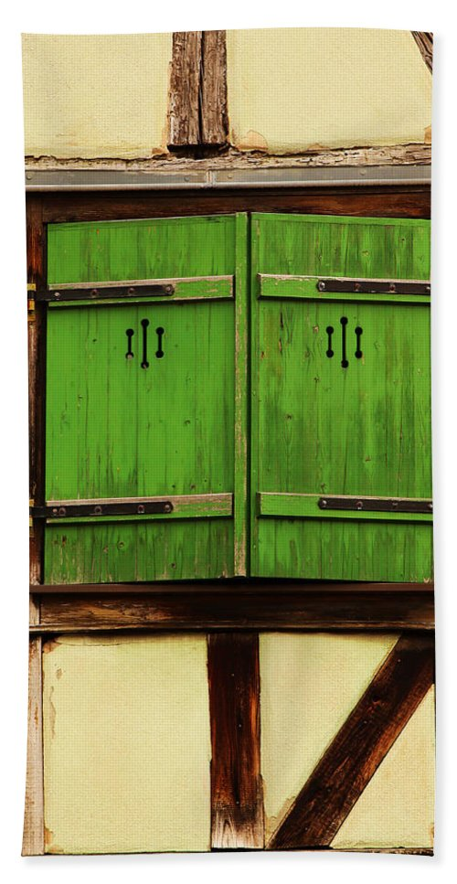 Shutters Beach Towel featuring the photograph Green Shutters In Colmar France by Greg Matchick