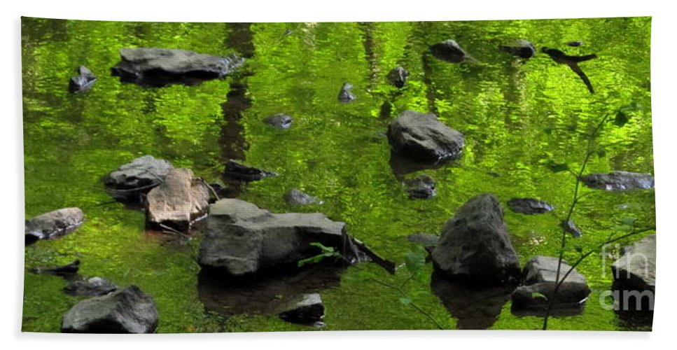 Green Stream Reflections Waterscapes Streamscapes Green Creek Green Brook Forest Reflections Woodland Stream Water Reflection Waterscapes Aquascapes Water Art H2o Beach Towel featuring the photograph Green Stream by Joshua Bales