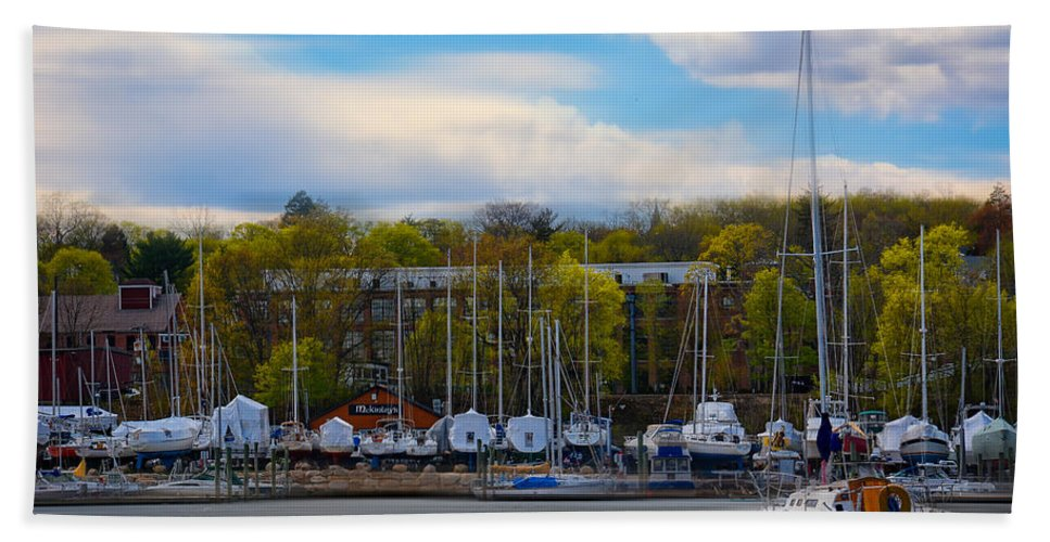 Rhode Island Beach Towel featuring the photograph Greenwich Marina by Lourry Legarde
