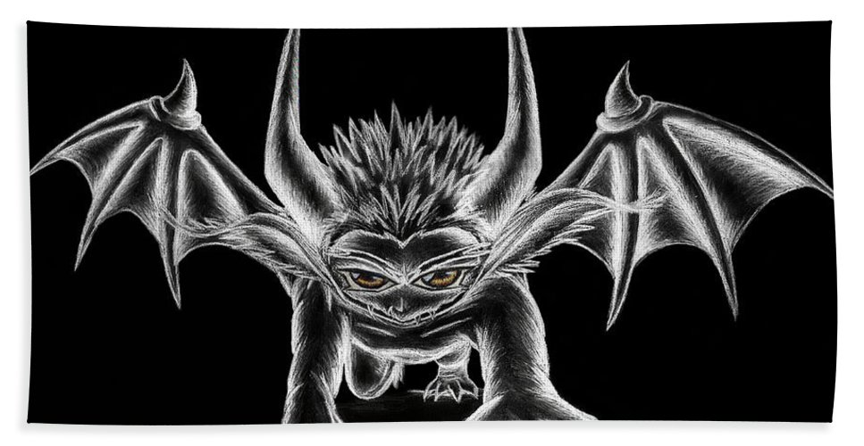 Demon Beach Towel featuring the painting Grevil Chalk by Shawn Dall