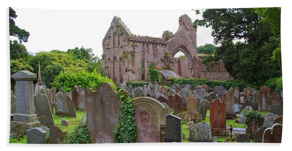 Grey Abbey Beach Towel featuring the photograph Grey Abbey Cemetery by Nancy L Marshall