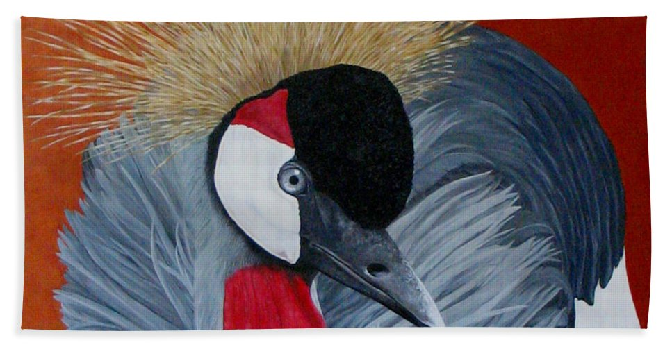 Cranes Beach Towel featuring the painting Grey Crowned Crane by Elaine Booth-Kallweit