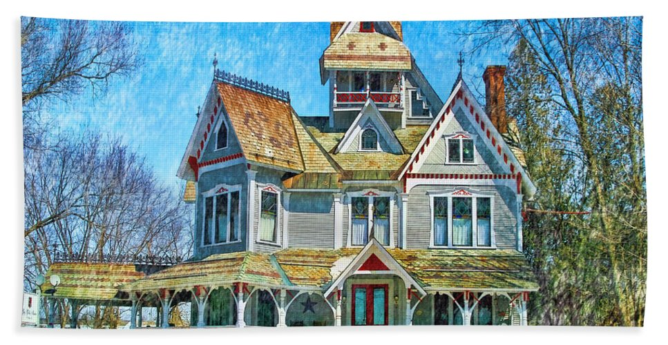 Grey Gables Beach Towel featuring the photograph Grey Gables Mansion by Deborah Benoit