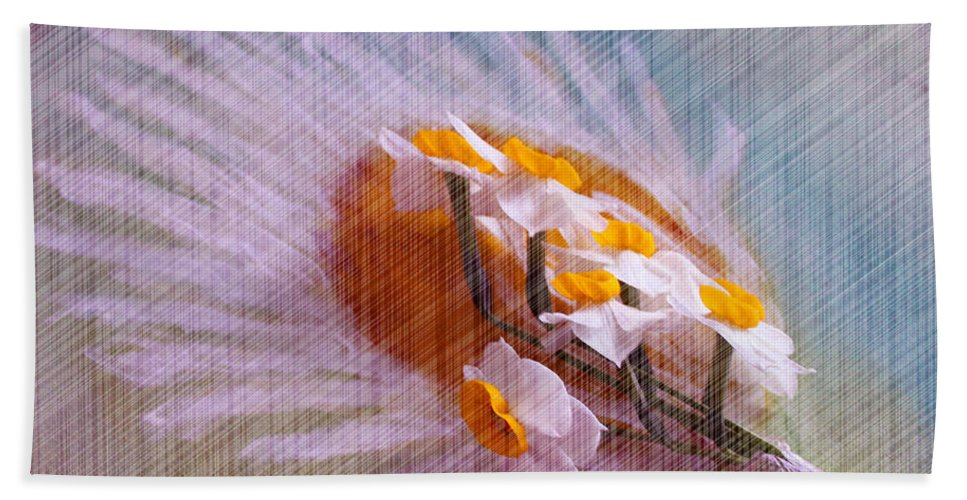 Augusta Stylianou Beach Towel featuring the digital art Grid Above Flowers by Augusta Stylianou