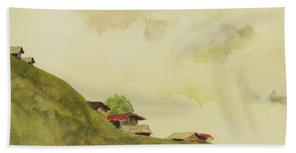 Swiss Beach Sheet featuring the painting Grindelwald Dobie Inspired by Mary Ellen Mueller Legault