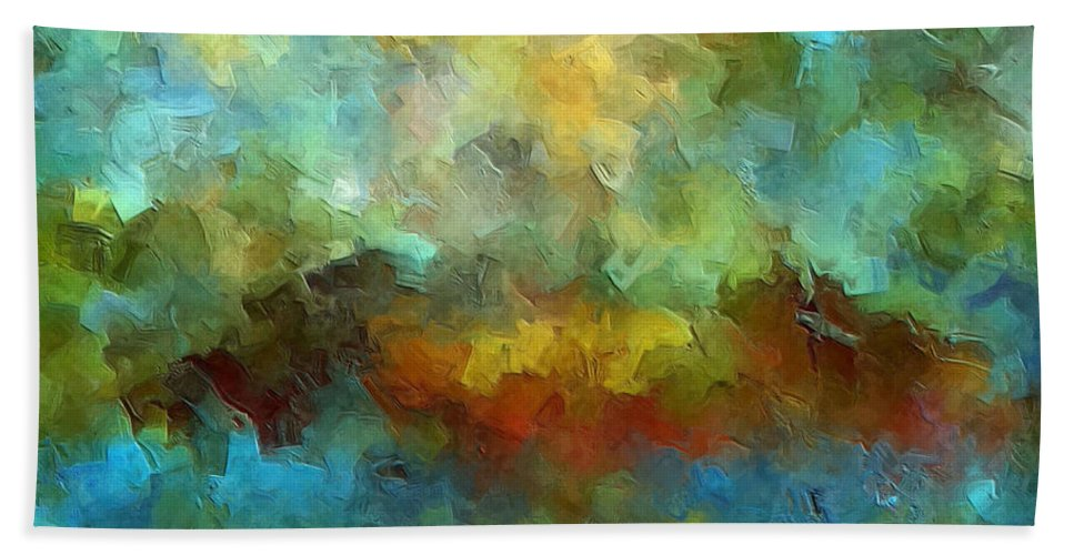 Abstract Art Beach Towel featuring the painting Grotto by Ely Arsha