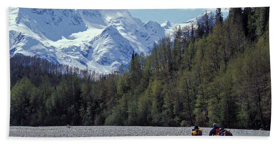 Achieve Beach Sheet featuring the photograph Group Of Adventurers Rafting On Upper by Henry Georgi