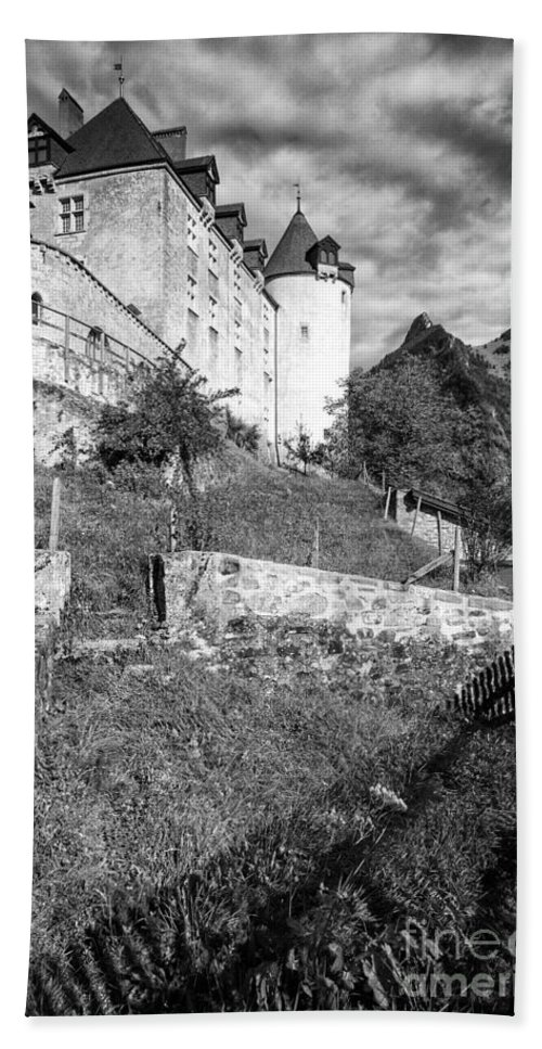 Leysin Beach Towel featuring the photograph Gruyeres Castle Bw by Timothy Hacker