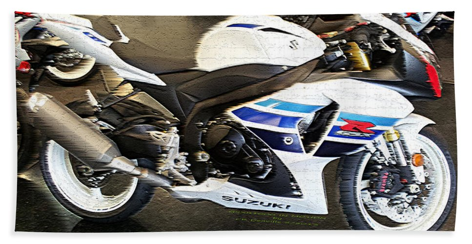 Suzuki Beach Towel featuring the photograph Gsxr1000 In Motion by Carl Deaville