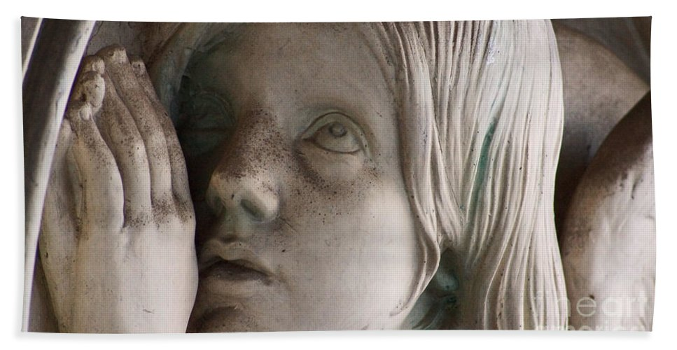 Angel Beach Towel featuring the photograph Guardian Angel With Praying Hands by Eva-Maria Di Bella