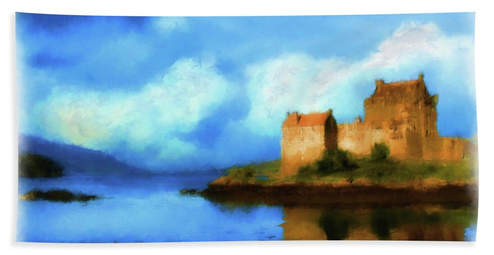 Eilean Donan Castle Beach Towel featuring the digital art Guardian Of The Loch by Diane Macdonald